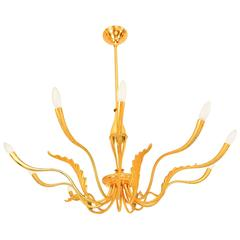 Mid Century Italian Modern Ten-Arm Chandelier after Guglielmo Ulrich