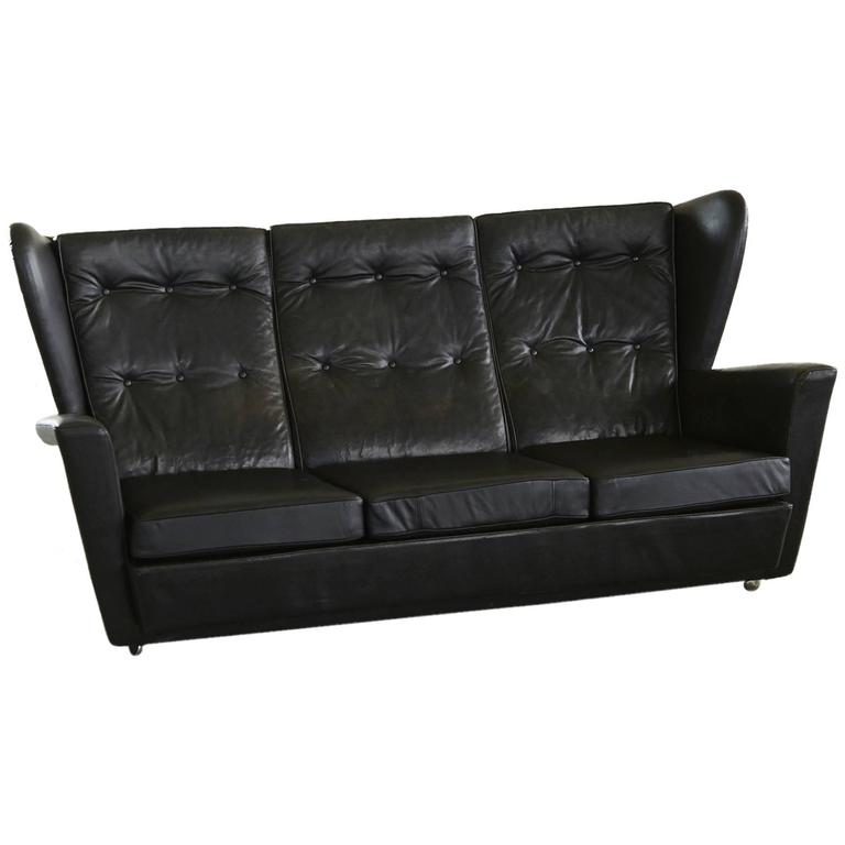 Howard Keith Black Leather Wingback Sofa Very Rock N