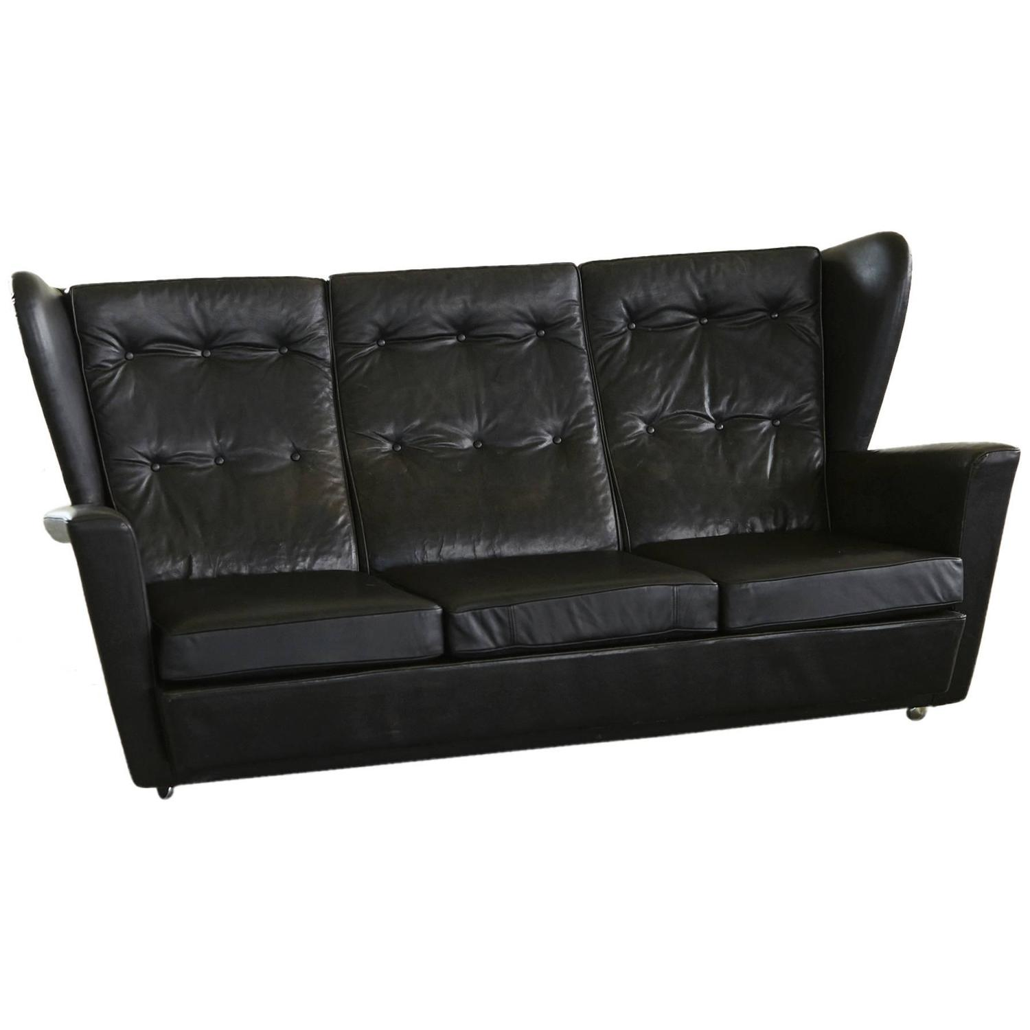 Howard Keith Black Leather Wingback Sofa Very Rock N 39 Roll At 1stdibs
