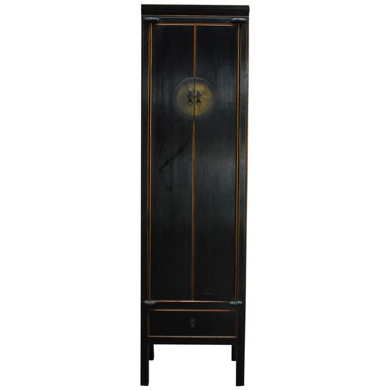 Chinese Tall Black Lacquer Cabinet For
