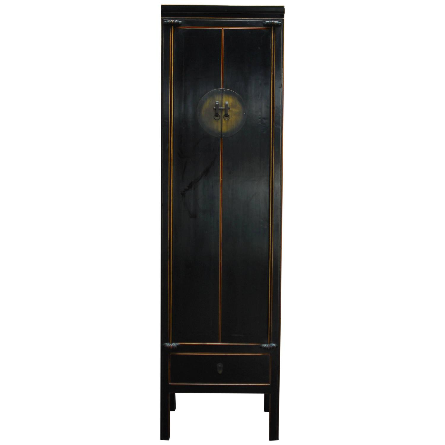 Chinese Tall Black Lacquer Cabinet For Sale at 1stdibs