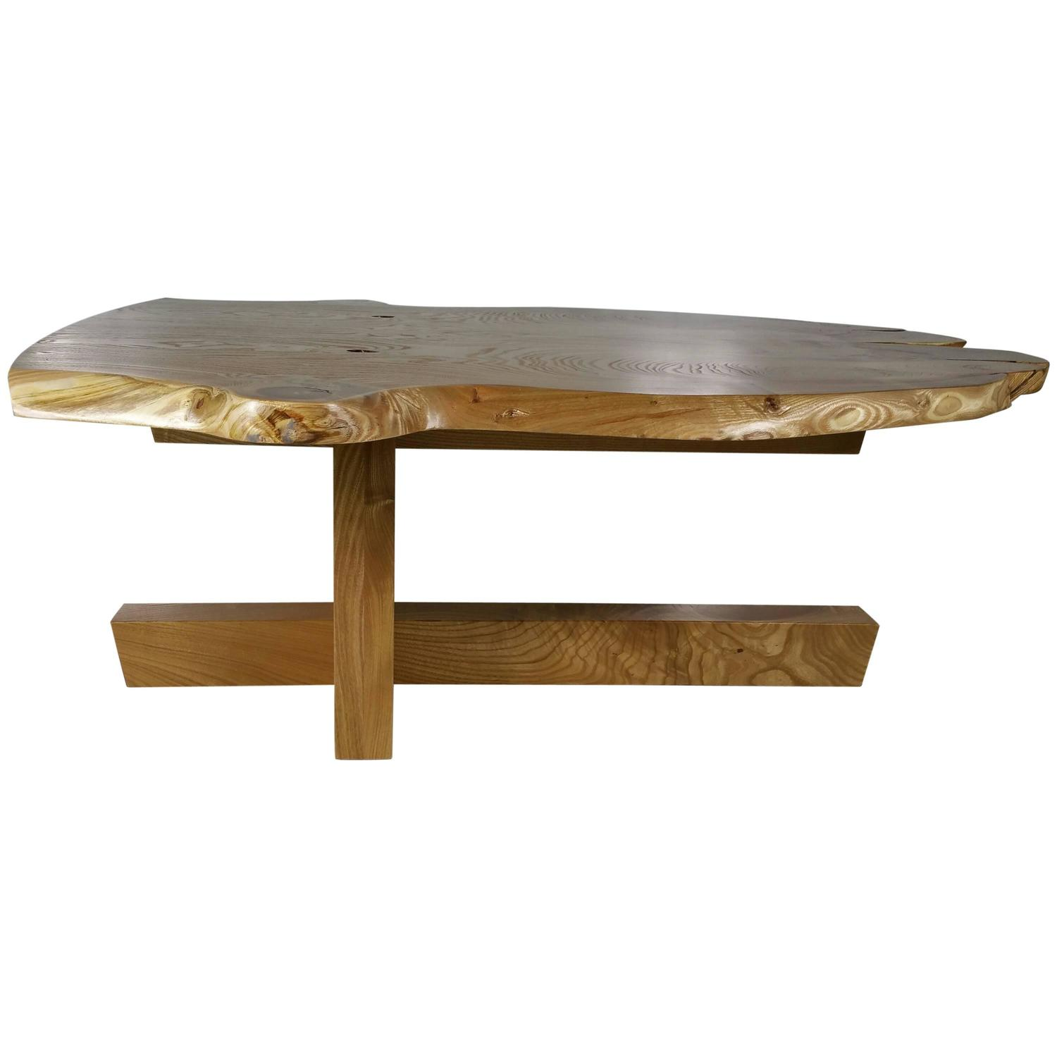 Modernist Figured Catalpa Wood Coffee Table by Griff Logan For