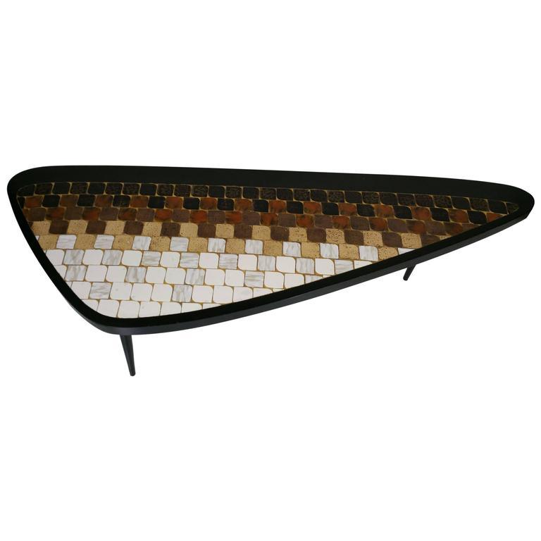 rare asymmetric 39 guitar pick 39 tile top coffee table hohenberg original at 1stdibs. Black Bedroom Furniture Sets. Home Design Ideas