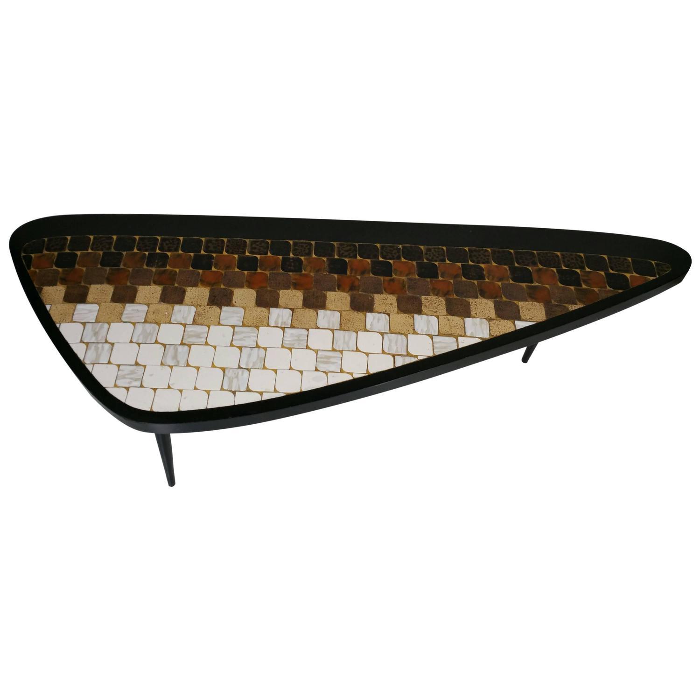 Rare Asymmetric Guitar Pick Tile Top Coffee Table Hohenberg