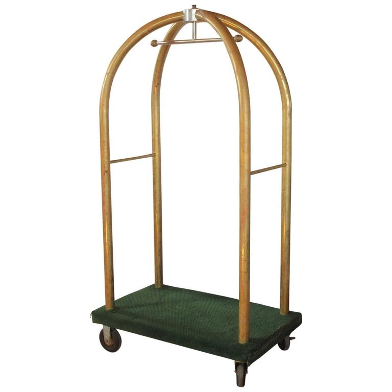 Vintage Hotel Brass Luggage Cart At 1stdibs