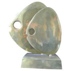Abstract Brass Fish Sculpture by Hattakitkosol Somchai