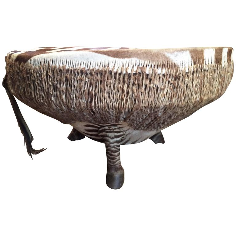 34 Zebra Drum Table From Ghana For Sale At 1stdibs