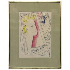 Pastel Drawing by Jean Cocteau