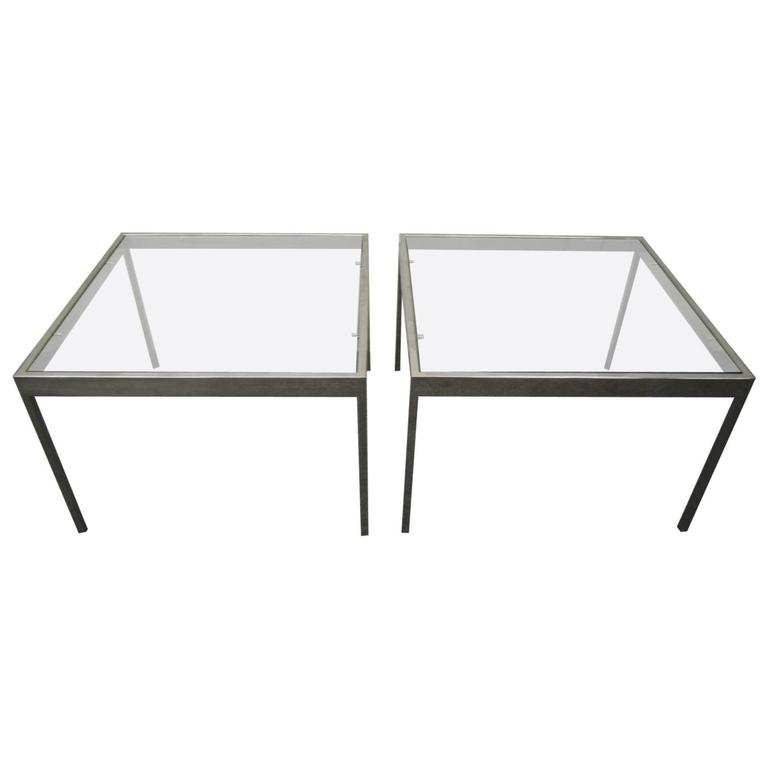 Handsome Pair of Milo Baughman Chrome Square Side End Tables Mid-century Modern