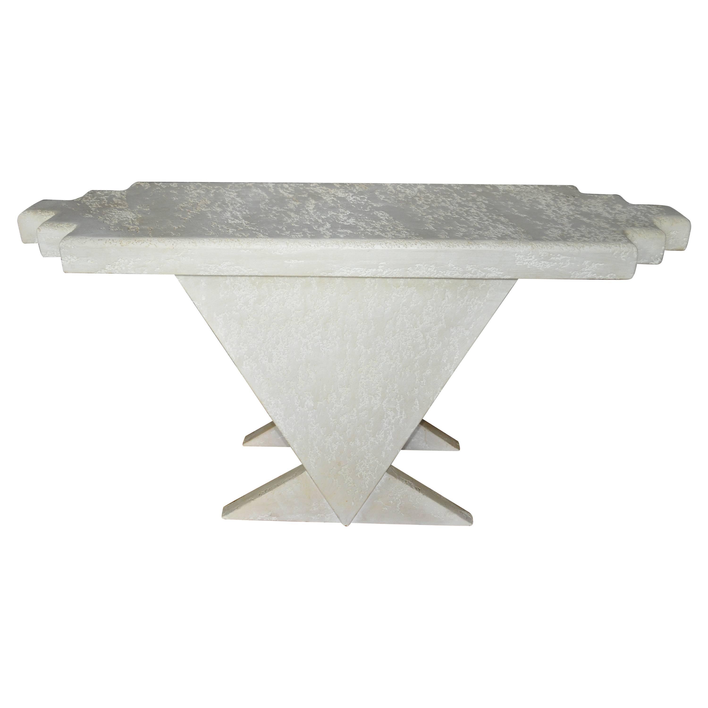 Geometric Memphis Style Plaster Console Table