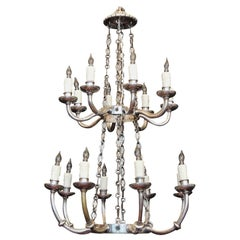 Italian Neoclassical Silver Plated Bronze Two-Tiered Chandelier