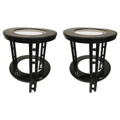 Josef Hoffmann Pair of Secession Two-Tier Side Tables in Black Lacquer