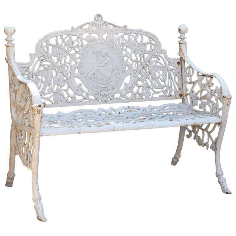 Outdoor Victorian Table: White Victorian Style Garden Bench At 1stdibs