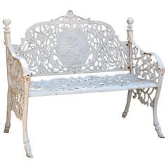White Victorian Style Garden Bench