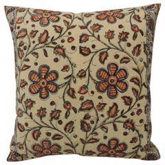 Antique Floral Indian Linen Pillow