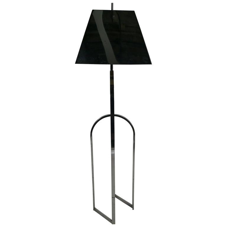 Modernist Chrome Floor Lamp, Chrome Shade, Manner of Pierre Cardin, 1970s