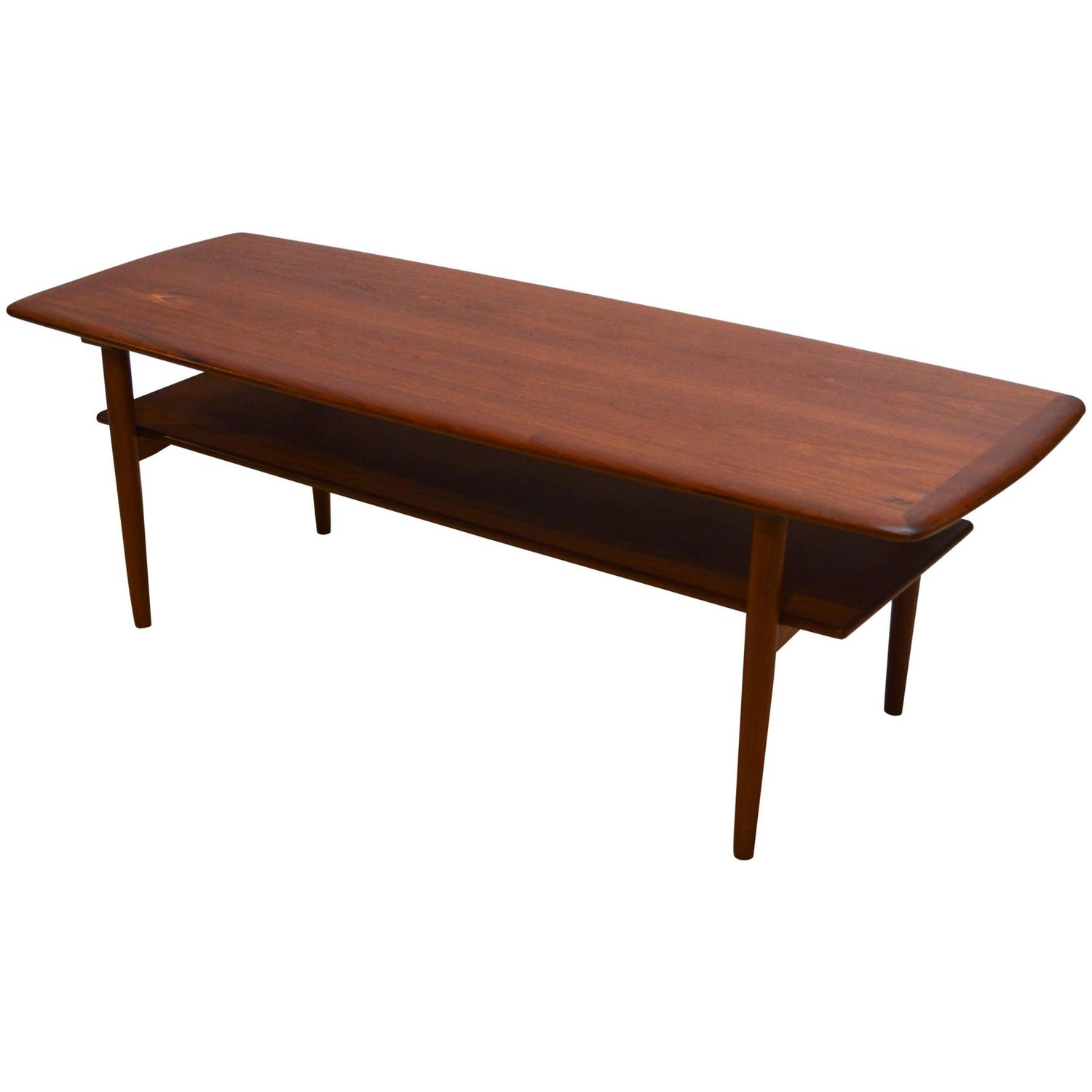 Scandinavian Teak Coffee Table: Danish Modern Teak Coffee Table With Shelf At 1stdibs