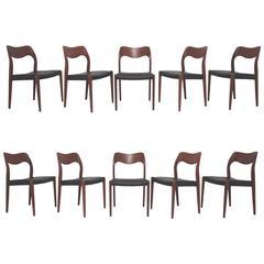Set of Ten Danish Teak Dining Chairs by Hovmand-Olsen for JL Moller