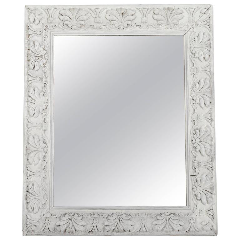Empire Style Distressed Pale Grey Frame With Antique Mirror For