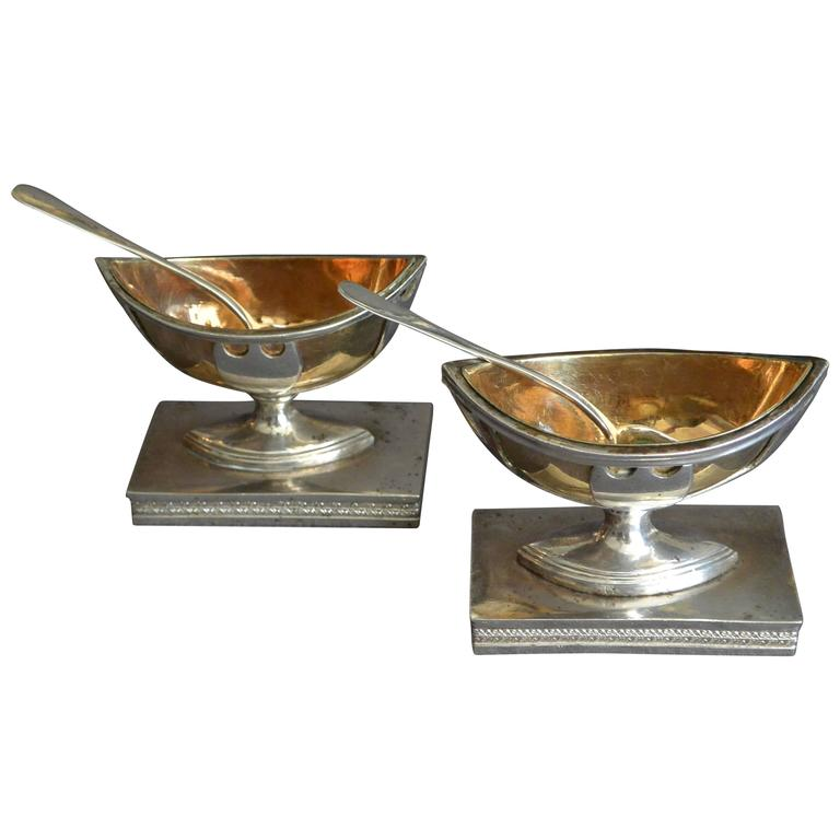 Pair Nautical Shaped Italian Silver-Gilt Salts