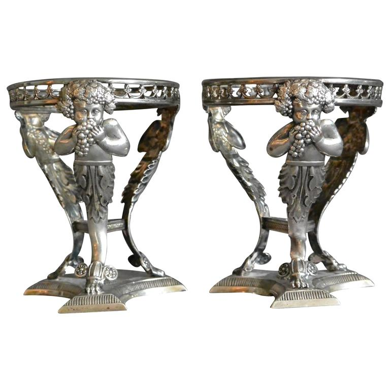 c6959cb49 Pair of Italian Silver Salts with Bachii For Sale. Pair rare sterling ...