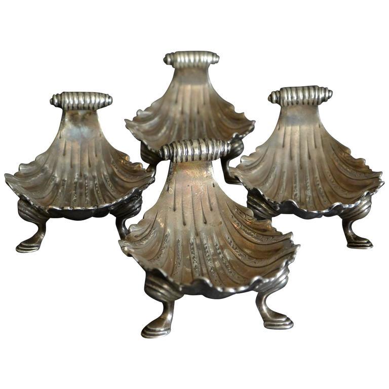 Set of Four Georgian Shell Form Silver Salts