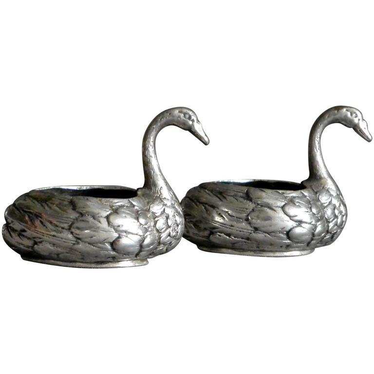 Pair of Italian Swan Silver Salts