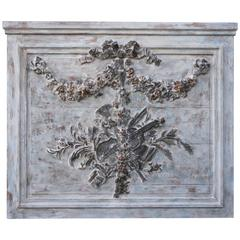French Carved Painted Rococo Style Panel
