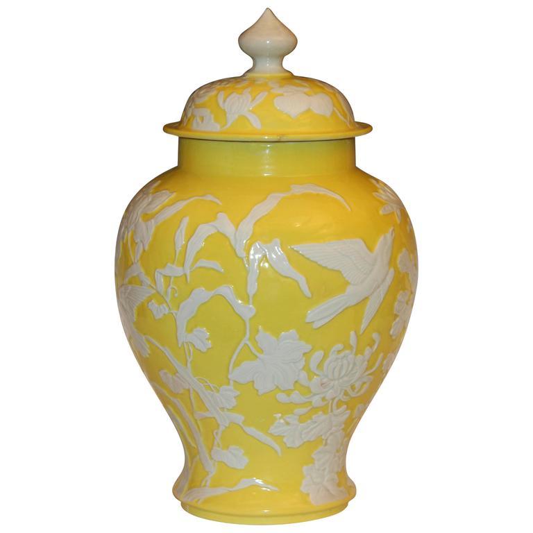 Antique Japanese Carved Studio Porcelain Yellow Covered Urn Vase For Sale At 1stdibs