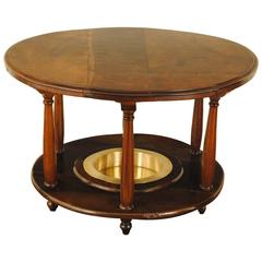 Spanish Neoclassical Walnut and Brass Brazier Table, 19th Century