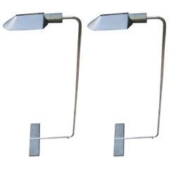 Pair of Cedric Hartman Grey Patina Adjustable Floor Lamps