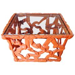 Orange Resin Ribbon Table, Attributed to Tony Duquette