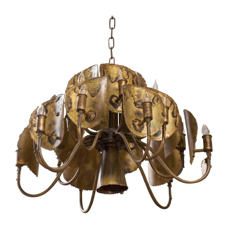 Tom Greene Designed Brutalist Chandelier for Feldman Lighting
