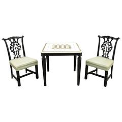 1940s Chippendale or George III Style Marble-Top Game Table Set with Two Chairs
