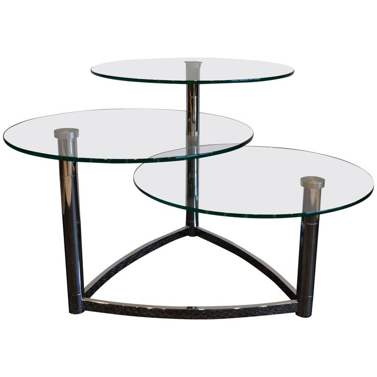 Modern Chrome And Round Glass Three Tier Coffee Table At 1stdibs