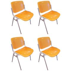 Set of Four Mid-Century Chairs by Giancarlo Piretti for Castelli