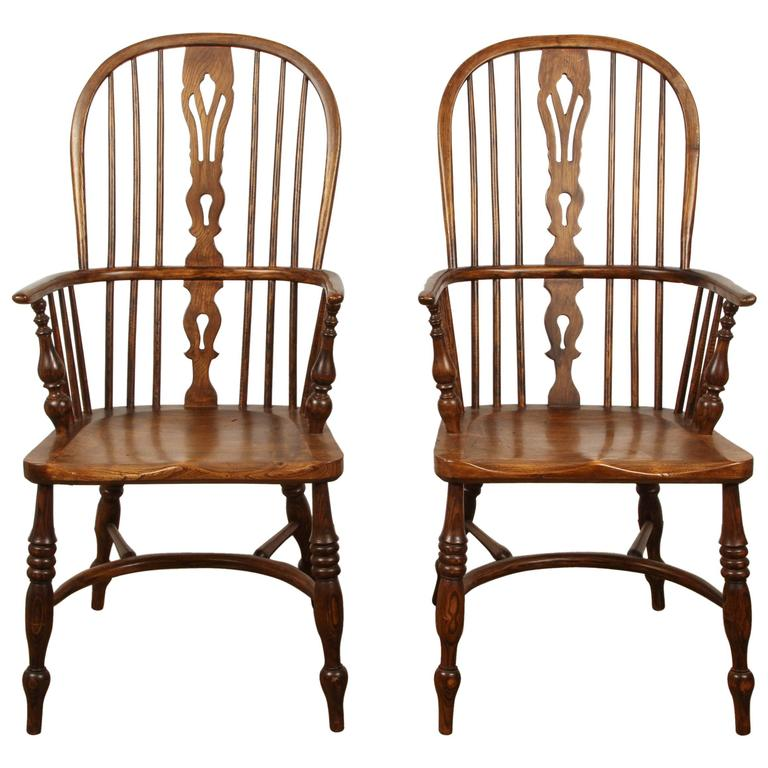 One English Yew High Back Chair For Sale