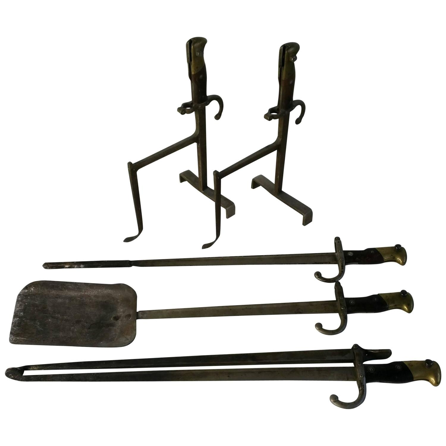 set of three french bayonet forged fire tools and andirons at 1stdibs