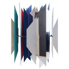 Divan 2 Pendant by Simon Henningsen for Lyfa, Chrome and Colorful Metal, 1960s