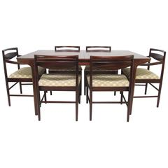 Danish Modern Rosewood Dining Set, Table and Six Chairs, by A.H. McIntosh