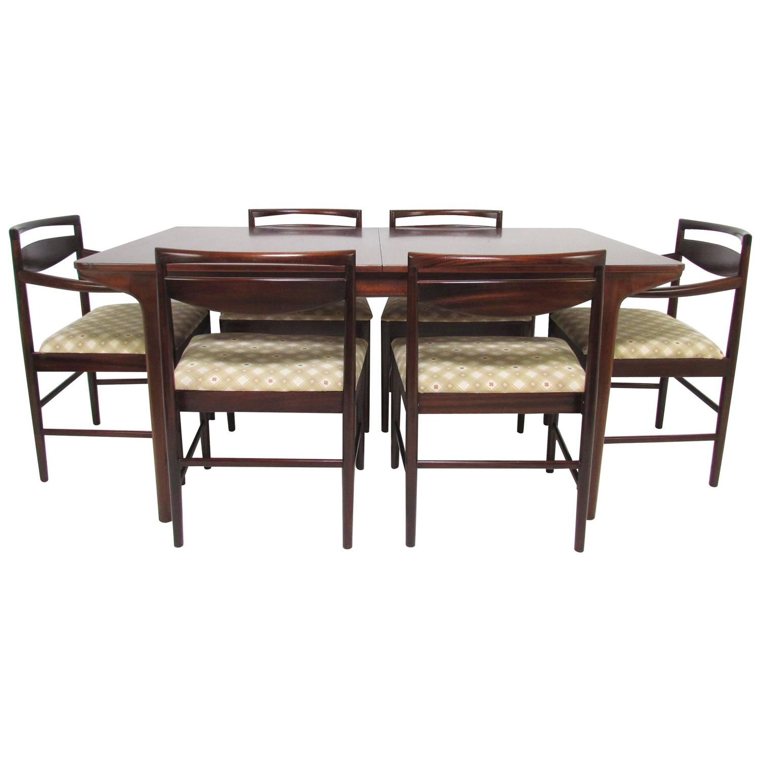 Danish Modern Rosewood Dining Set Table And Six Chairs By A H McIntosh At