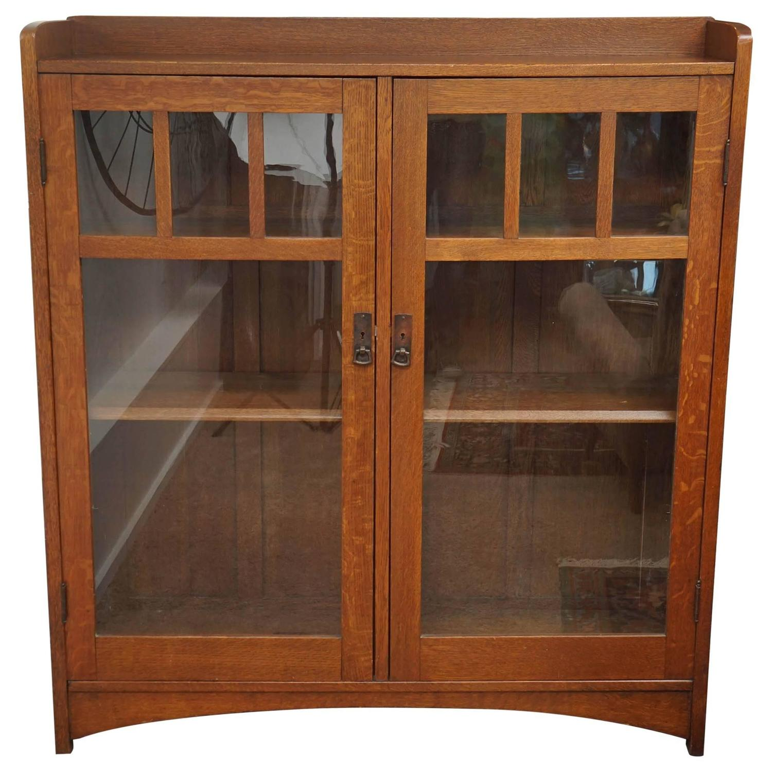 Arts and crafts bookcase stickley attribution early 20th for Arts and crafts bookcase