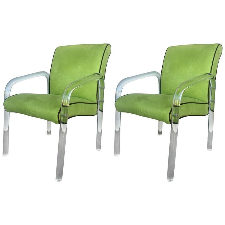 Pair Of Green Lucite Armchairs In The Manner Of Charles Hollis Jones For  Sale