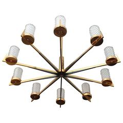 "Large Charles et Fils ""Soliel"" French Large, 1970s Chandelier"