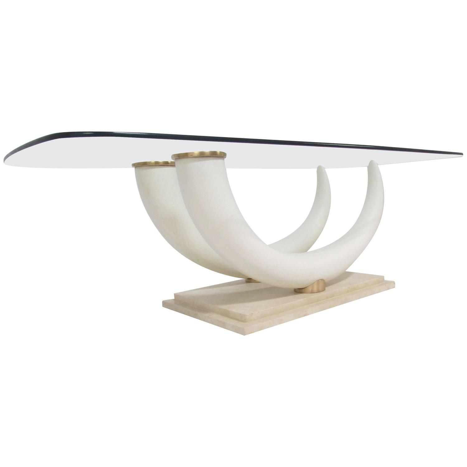 Jansen Coffee Table Faux Elephant Tusk Coffee Table By Maison Jansen At 1stdibs