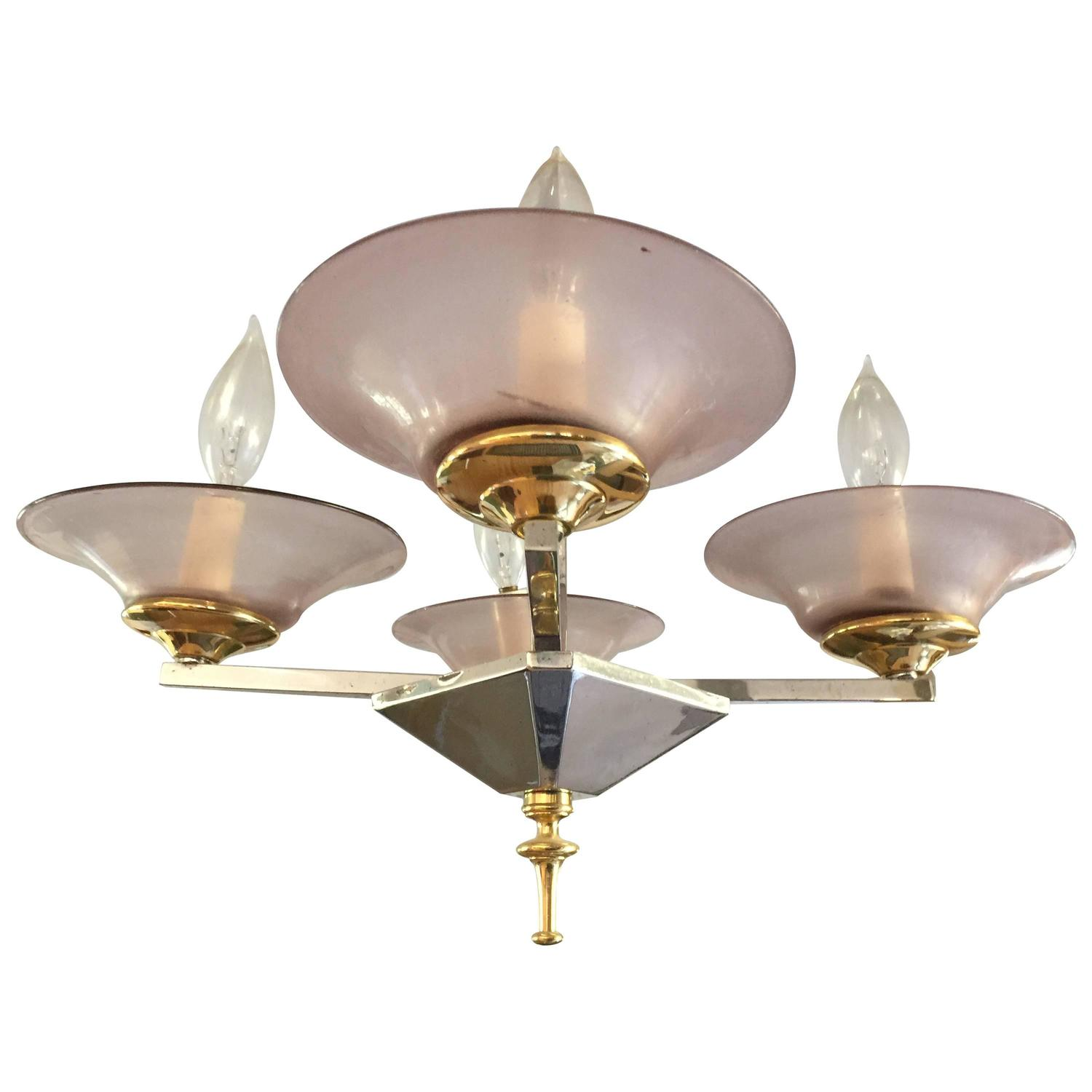 Foyer Chandelier Small : Brass and chrome depression glass foyer small modern