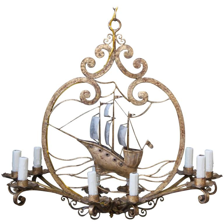 Ten Light Gold And Silvered Iron Ship Chandelier At 1stdibs
