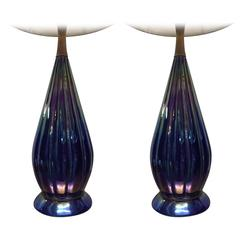 Pair Colorful Glass Lamps