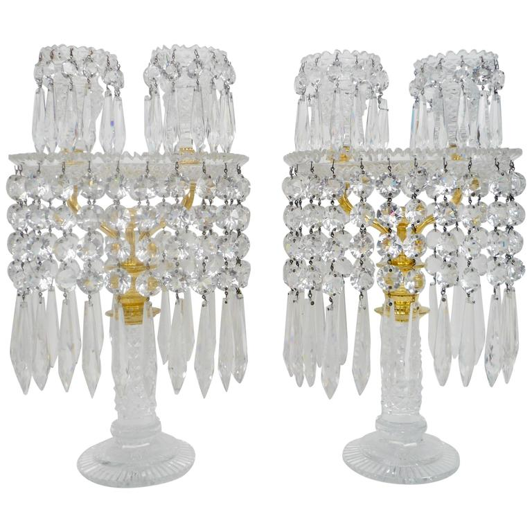 Pair of English Regency Cut Glass Candelabra, Attributed to John Blades