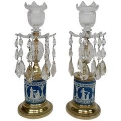 Pair of 19th Century George III Style Jasperware Candlesticks